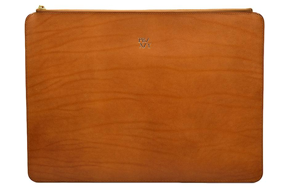 Porte-documents cuir cognac, vue de face